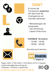TALLER OSINT Barcelona @ INESDI Barcelona
