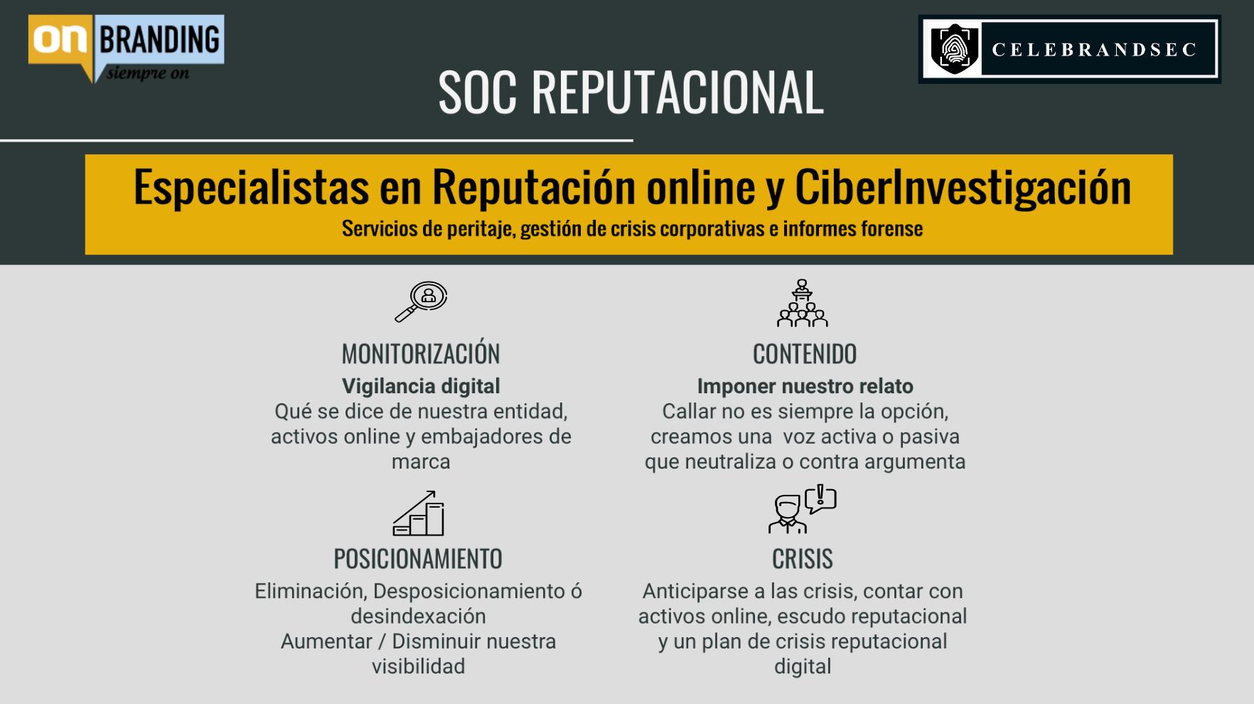 onBranding-SOC Reputacional - Respuesta a incidentes reputacionales, Ciberseguridad, y Monitorización