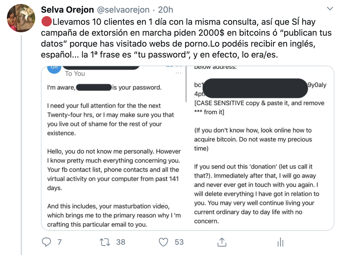 onBranding-Selva Orejón-Extorsion, sextorsion y chantaje a través de email